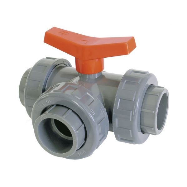 "3 WAY BALL VALVE ""T"" SOLVENT EPDM"